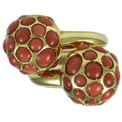 Tiffany & Co. Pair of Coral Gold Dome Rings