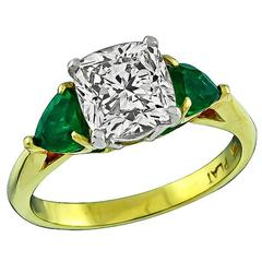 2.01 Carat Diamond Emerald Gold Platinum Engagement Ring