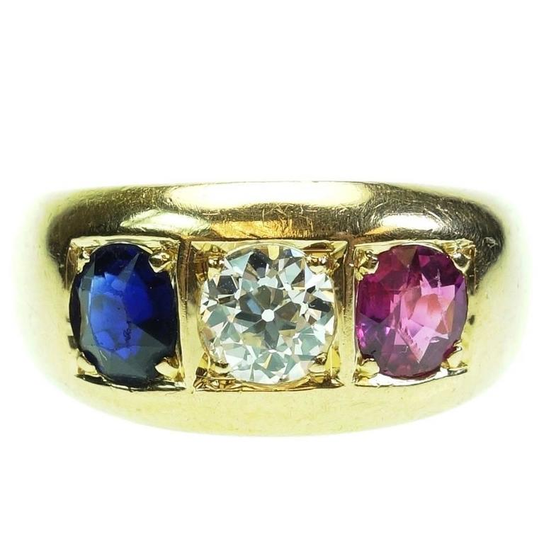 Antique French Ruby Sapphire Diamond Gold Three Stone Ring