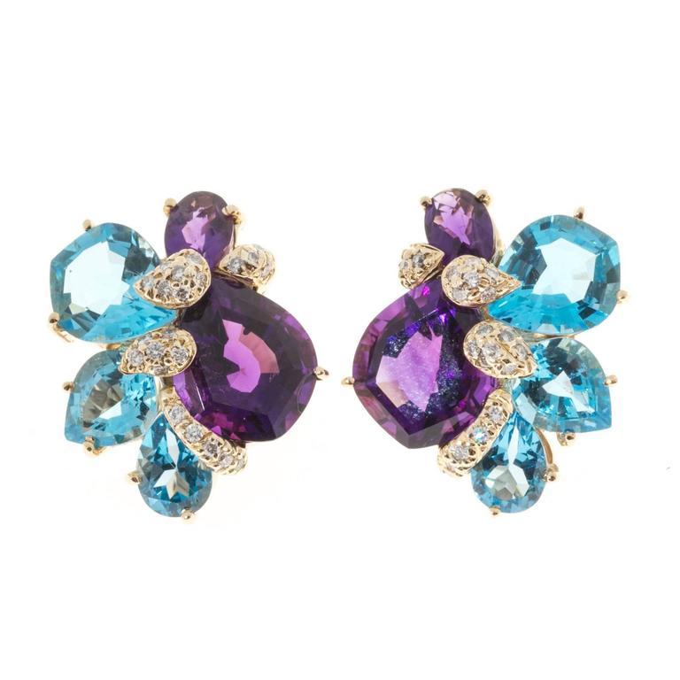 Wendee & Rene Amethyst Topaz Diamond Gold Earrings