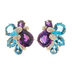 Wendee & Rene Amethyst Topaz Diamond Gold Earrings