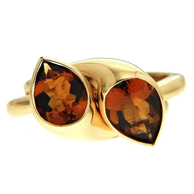 Citrine Gold Pear Shape Double Rings