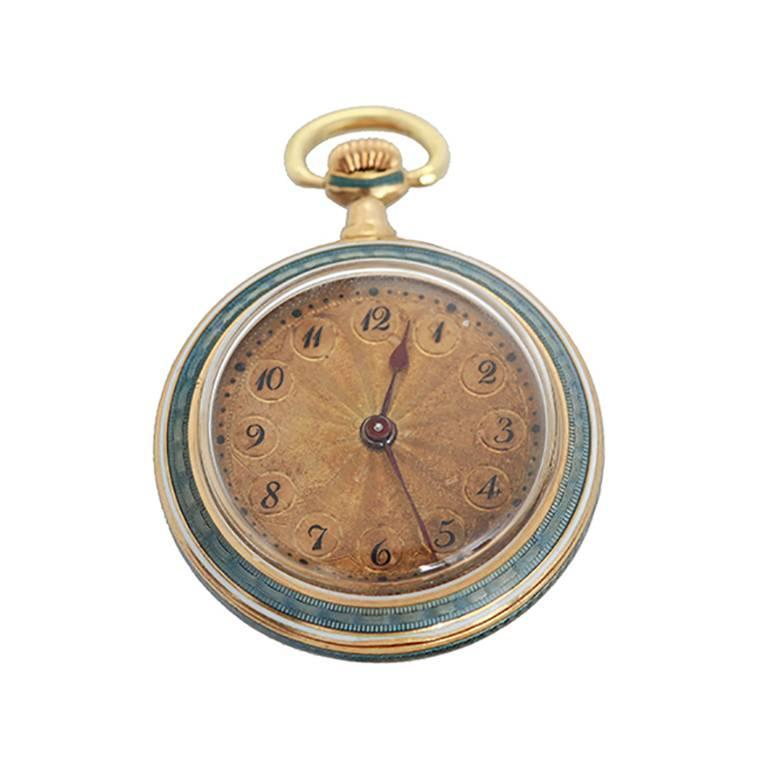 Haas lady's yellow Gold diamond enamel pendant pocket watch