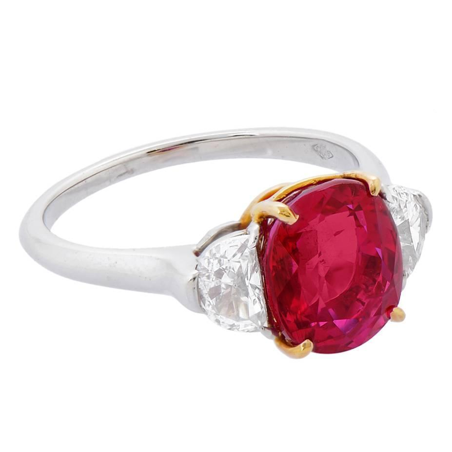 Ruby Engagement Rings For Sale: Burmese Ruby Diamond Gold Platinum Ring For Sale At 1stdibs