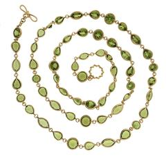 Peridot Gold Necklace with Round Marquise and Pear Shaped Peridots