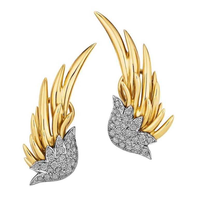 Tiffany & Co. Schlumberger Diamond Gold Flame Earrings For Sale
