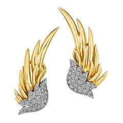 Tiffany & Co. Schlumberger Diamond Gold Flame Earrings
