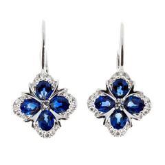 Spark Blue Sapphire Diamond Gold Earrings