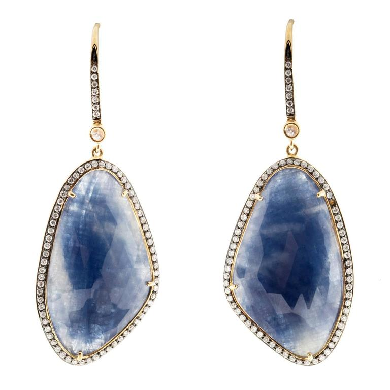 Sapphire Diamond Halo Gold Dangle Earrings  For Sale