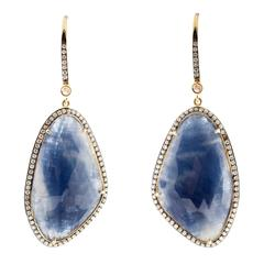 Sapphire Diamond Halo Gold Dangle Earrings