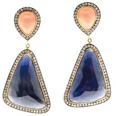 Peach Moonstone Sapphire Diamond Gold Dangle Earrings