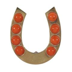 Coral Gold Horseshoe Brooch