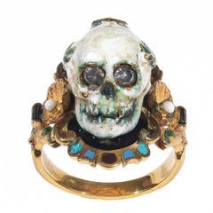 Attilio Codognato Enamel Diamond Ruby gold Skull Shell Memento Mori Ring