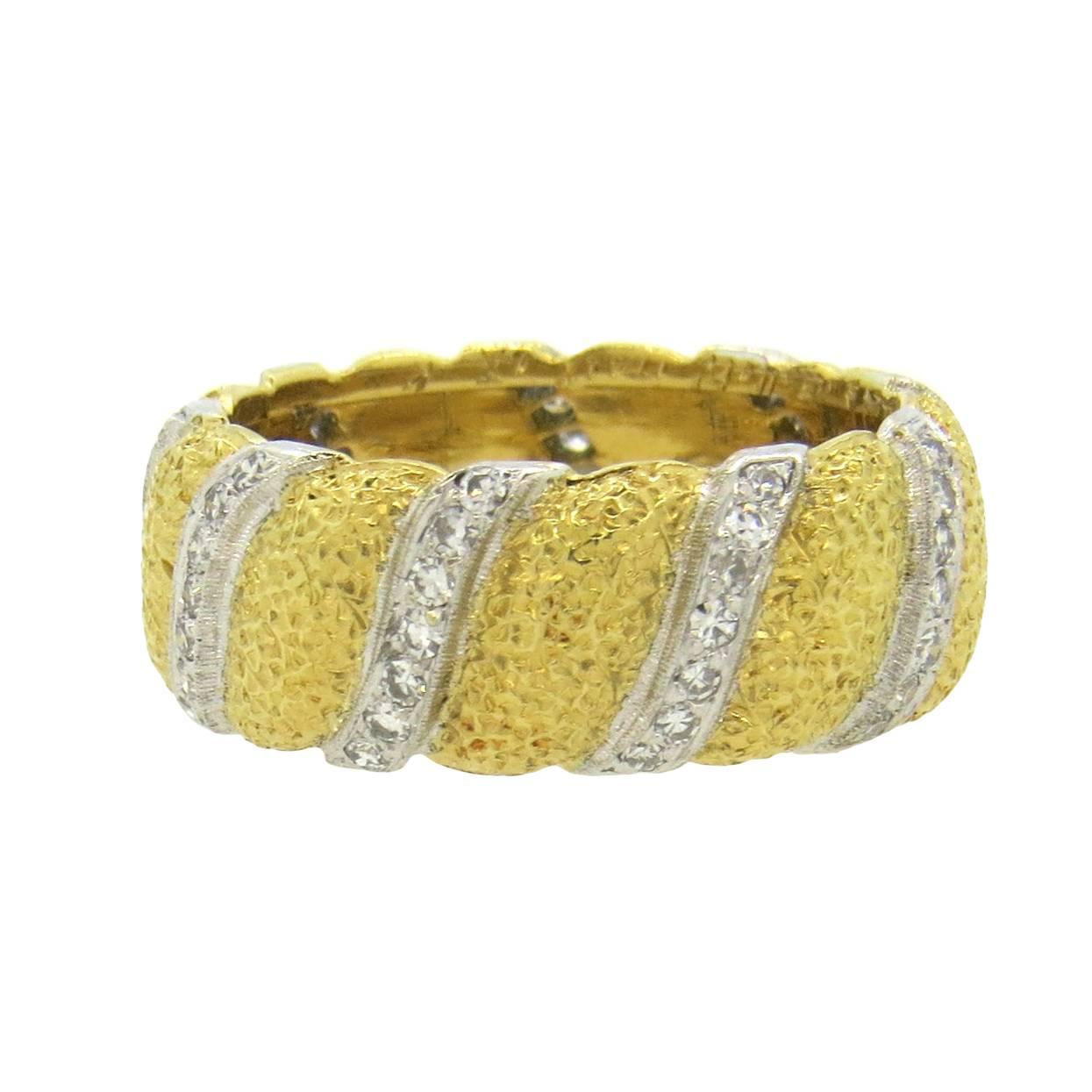 Buccellati Diamond Gold Wedding Band Ring