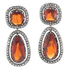 Antique Hessonite Garnet Diamond Ear Pendants