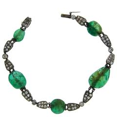 Art Deco Emerald Diamond Gold Bracelet
