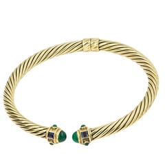 David Yurman Gold Emerald Neck Collar