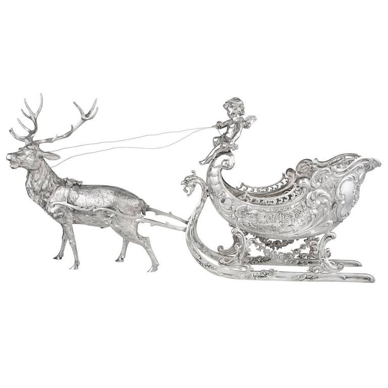 Large Silver Christmas Reindeer and Sleigh Table Top Sculpture
