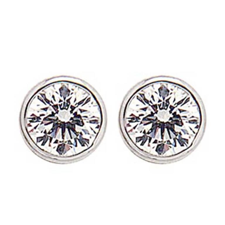 Bezel Set Round Diamond Gold Stud Earrings 1