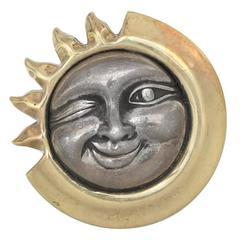 Kieselstein-Cord Sun and Moon Gold Silver Pin