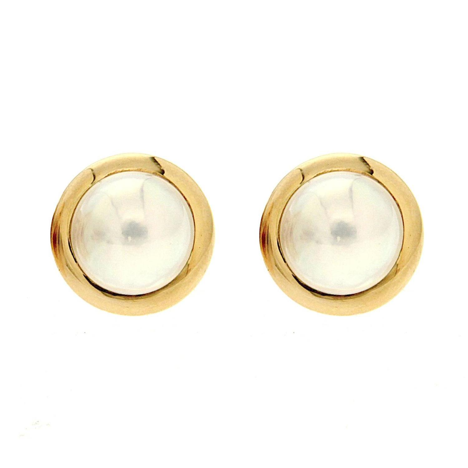 Valentin Magro Round Mabe Pearl Earrings with Gold Rims For Sale ...