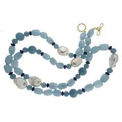 Aquamarine Fresh Water Pearl Lapis gold Necklace