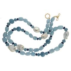 Aquamarine Fresh Water Pearl Lapis gold Necklace