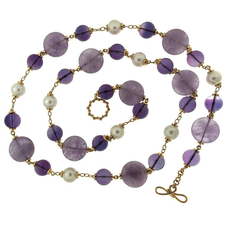 Amethyst disks and Balls and round fresh water pearl gold necklace 1