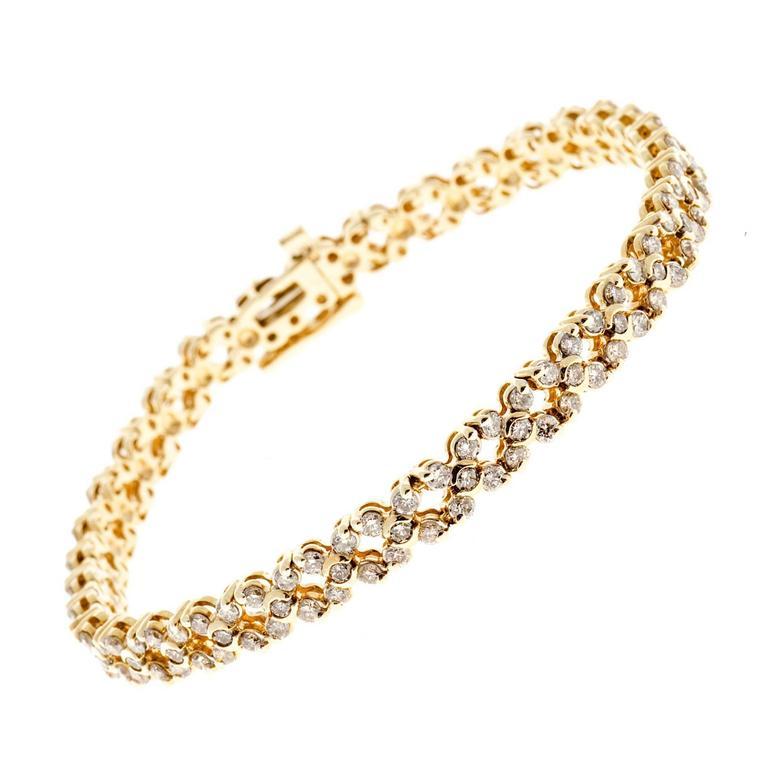 Diamond Gold Hinged Link Bracelet For Sale