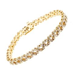 Diamond Gold Hinged Link Bracelet