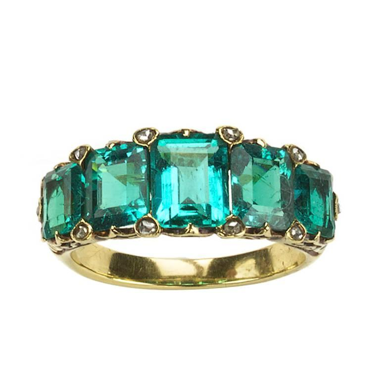 Antique five stone emerald gold ring 1