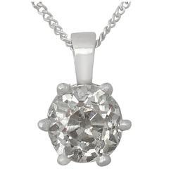 0.89Ct Diamond & Platinum Solitaire Pendant - Antique Circa 1900 & Contemporary