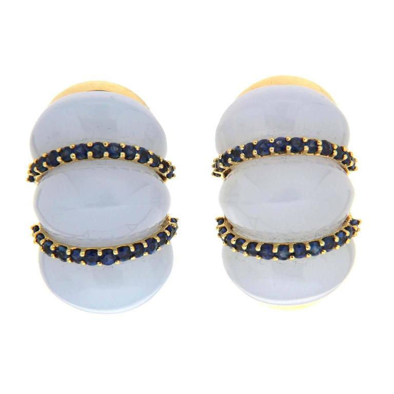 Valentin Magro Chalcedony Sapphire Gold Shrimp Earrings