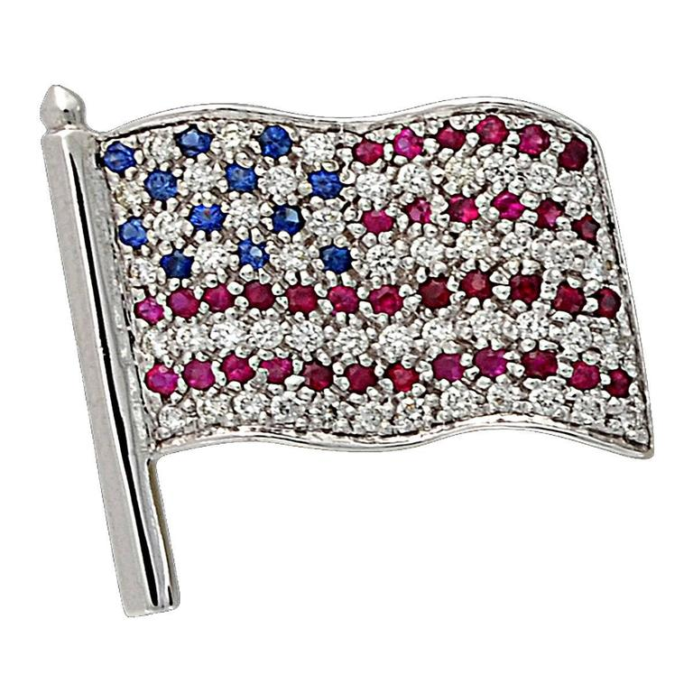 Ruby Sapphire diamond gold american flag pin