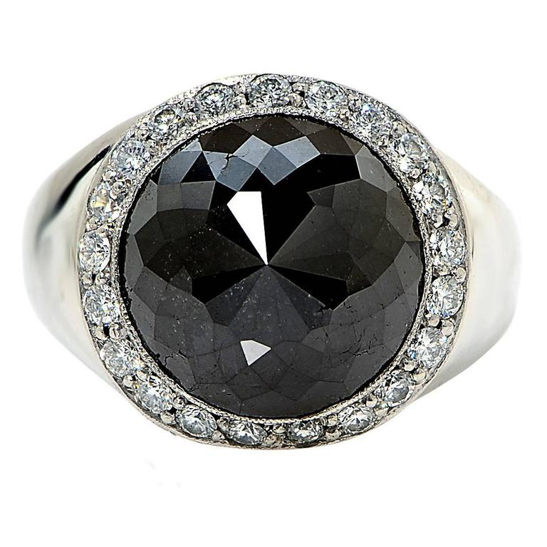 large black diamond platinum mens ring for sale at 1stdibs