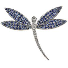 Striking Sapphire and Diamond Gold Dragonfly Brooch