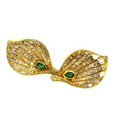 Fasano Emerald Diamond gold Leaf Ear-Clips