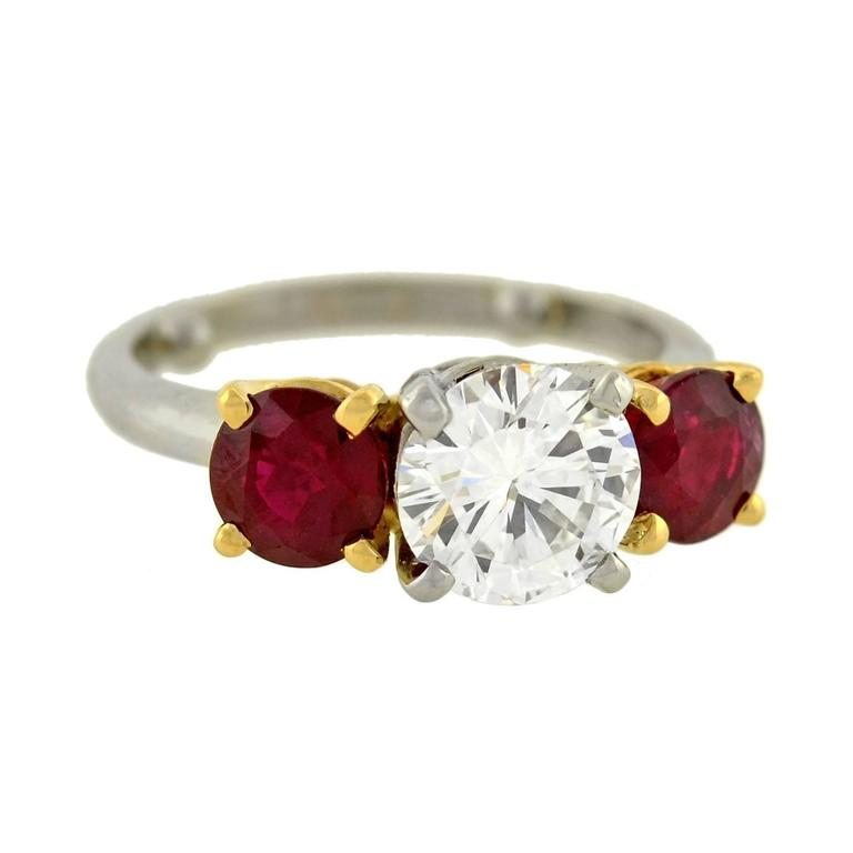 Contemporary Diamond Ruby 3 Stone Engagement Ring For Sale