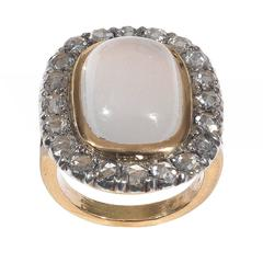Antique Moonstone Diamond Gold Cluster Ring