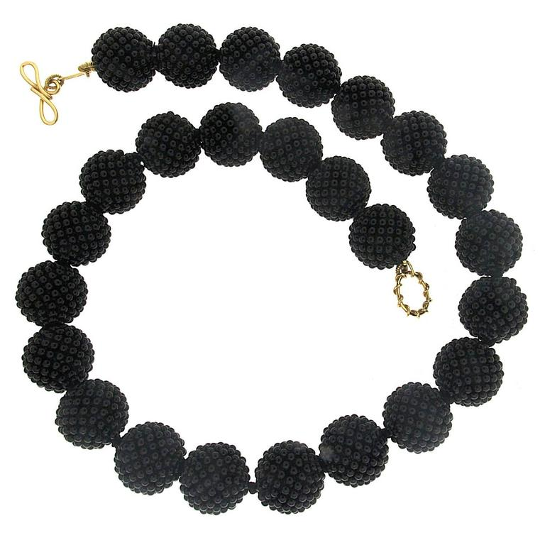Black Onyx Woven Ball Necklace For Sale
