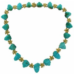 1940s Carved Turquoise Diamond Yellow Gold Necklace