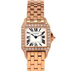 Cartier Lady's Rose Gold Diamond Santos Demoiselle Wristwatch