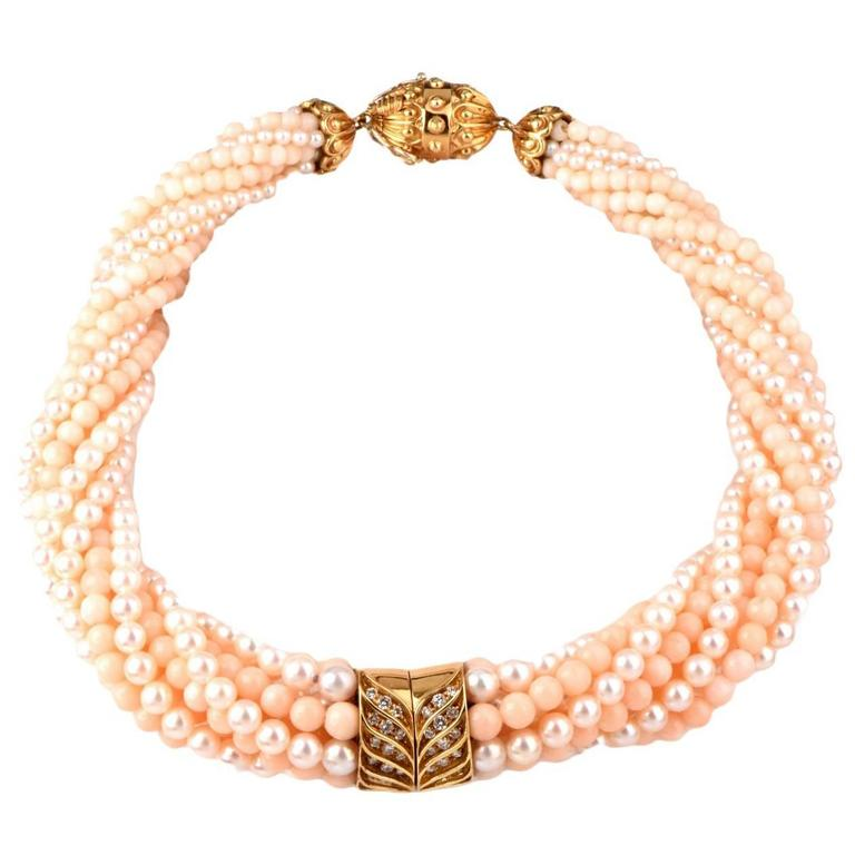 Coral Beads Pearl Diamond Gold Choker Necklace For Sale