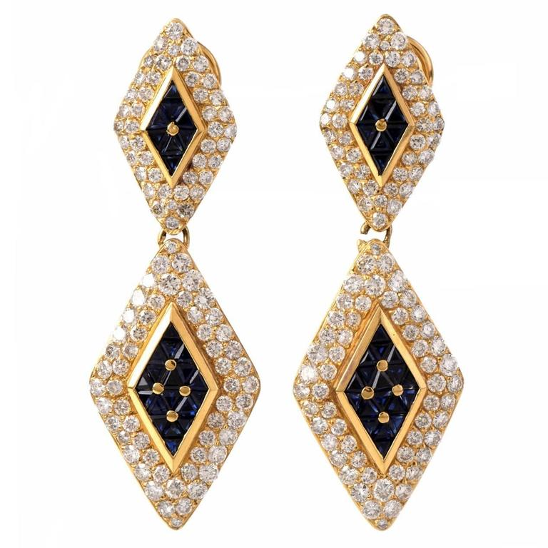 Sapphire Diamond Gold Pendant Earrings 1