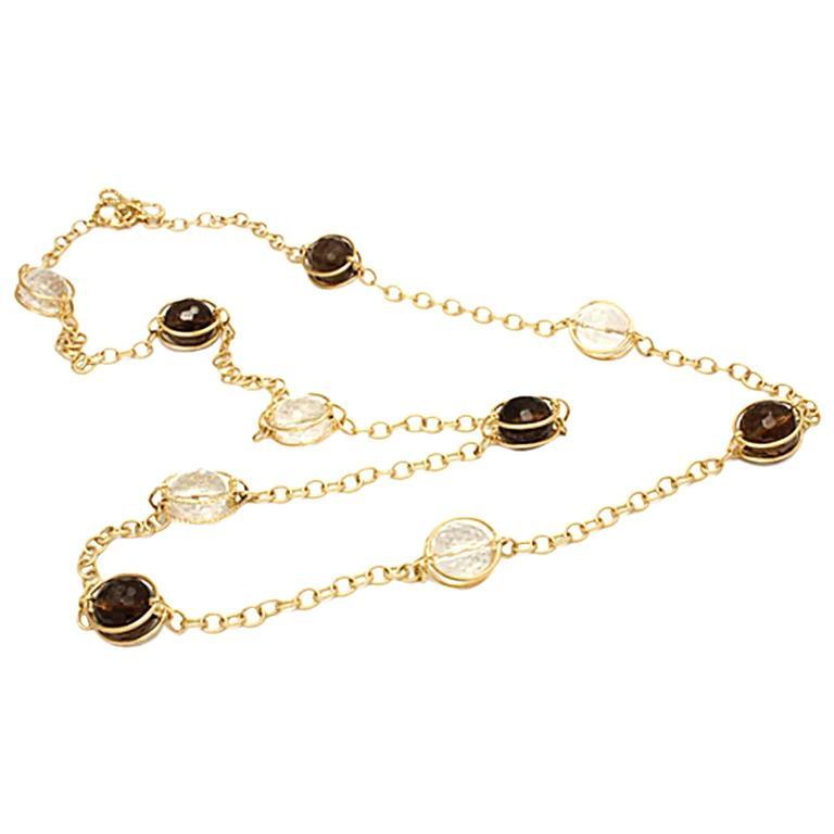 Doppio Smooth Smokey Topaz Crystal Gold Necklace 1