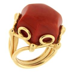 Geometrica Hexagon Shaped Dark Coral Gold Ring