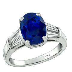 Stunning 4.53 Carat Natural Sapphire Diamond Ring