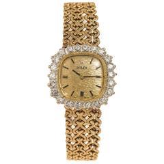 Rolex Lady's Yellow Gold Diamond Bracelet Wristwatch