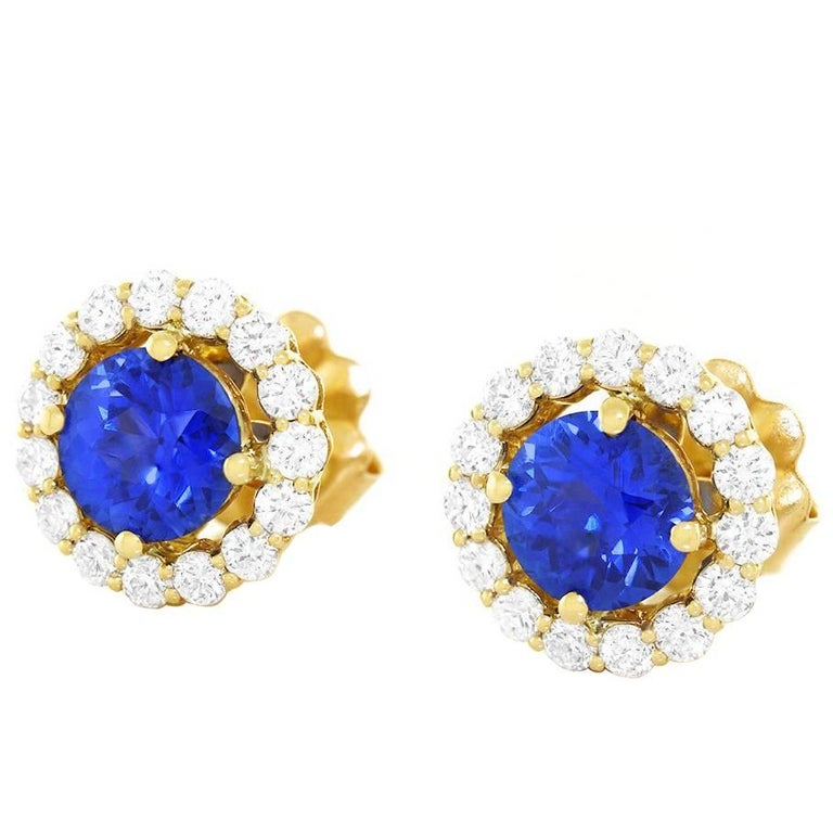 Cornflower Blue Sapphire and Diamond set Gold Earrings For Sale