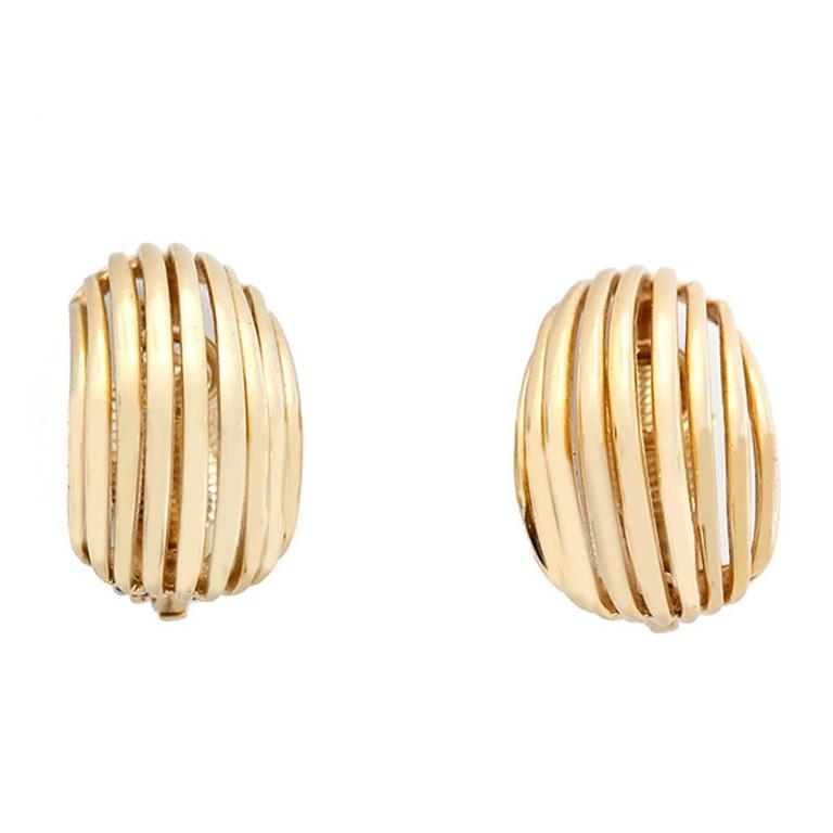 Tiffany & Co. Gold Open Curve Form Earclips